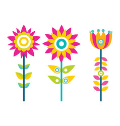 bright creative flowers with colorful petals set vector image