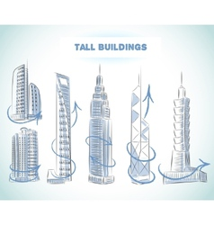 Buildings icons set of modern skyscrapers vector