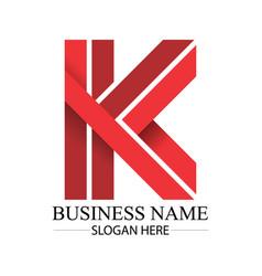 business red k letter logo template vector image