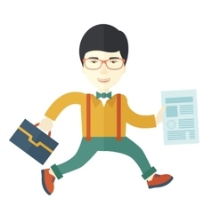 Businessman with bag and paper vector image