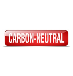 Carbon-neutral red square 3d realistic isolated vector