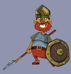cartoon joyful man in knight armor holds spear vector image