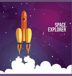Cartoon launching rocket vector