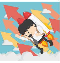 cheerful businessman flying off with jet pack vector image