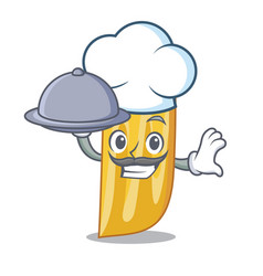 Chef with food penne pasta character cartoon vector