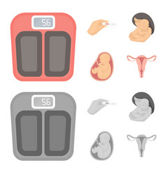 Child in the womb scales test pregnancy set vector