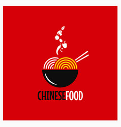 chinese food logo noodles or pasta on red vector image