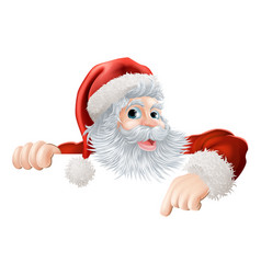 Christmas santa pointing down at sign vector