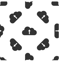 cloud upload icon isolated seamless pattern on vector image