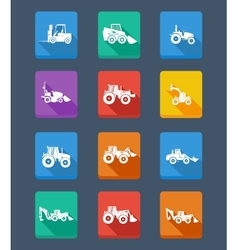 collection tractor and silhouettes icons vector image