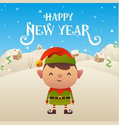 cute cartoon elf character happy new year vector image