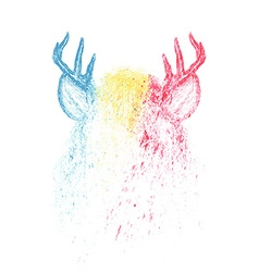 Deer colorful paint design vector