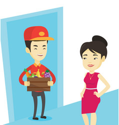 Delivery courier delivering groceries to customer vector