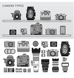 different types camera line monochrome vector image