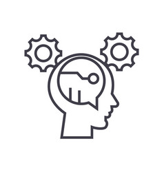 Digital thinking concept thin line icon vector