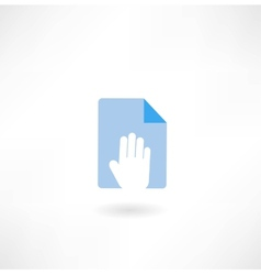 Document and hand icon vector
