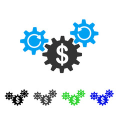 Dollar wheels rotation flat icon vector