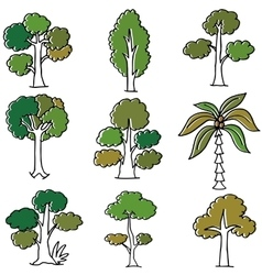 Doodle of tree nature collection vector