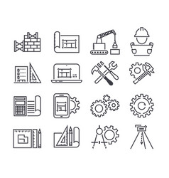 Engineering and manufacturing icon set in vector