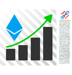 ethereum growth trend flat icon with bonus vector image