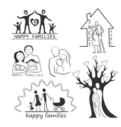 Family Icons Set Editable For Your Design vector image
