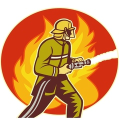 Firefighter fireman with water hose fighting fire vector