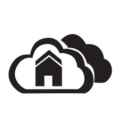 Flat black cloud home button icon vector