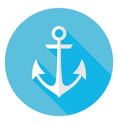 Flat Marine Anchor Circle Icon with Long Shadow vector