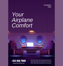 flyer with interior private jet vector image