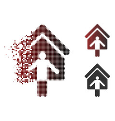 fragmented pixel halftone house owner wellcome vector image