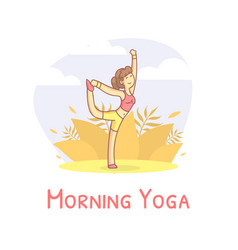 girl doing yoga in city park morning physical vector image