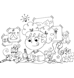 Girl drawing princess costume vector image