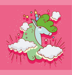 green unicorn clouds dream fantasy magic cartoon vector image