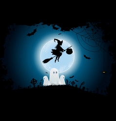 halloween background with whitch and ghosts vector image