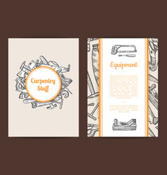 Hand drawn woodwork card or flyer template vector