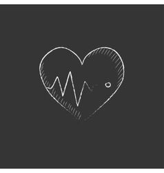 Heart with cardiogram Drawn in chalk icon vector