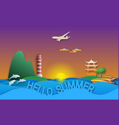 hello summer travel in paper cut style sunset vector image
