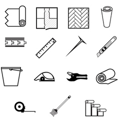 icons for working with linoleum vector image