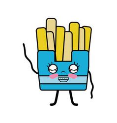 Kawaii cute happy fries french food vector