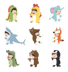 kids wearing animal costumes set vector image