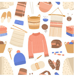 knitted items flat seamless pattern vector image