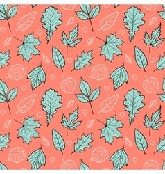 leaves on orange background vector image