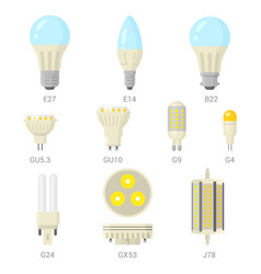 led light lamp bulbs colorful icon set vector image