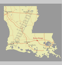 louisiana accurate exact detailed state map vector image