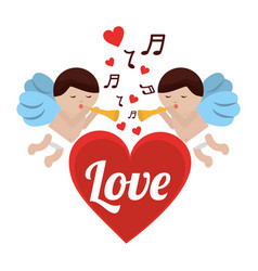 love cupid heart with trumpet music romance vector image