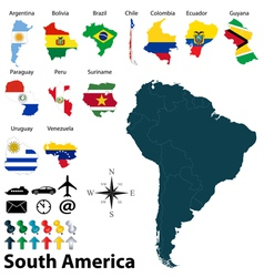 Maps with flags of South America vector