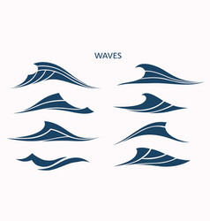marine pattern with stylized blue waves on a light vector image