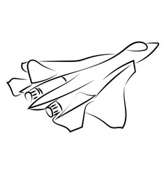 military airplane drawing on white background vector image