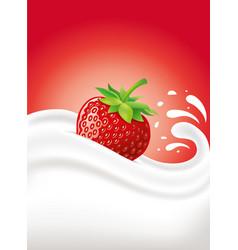 Milk cream yogurt with fresh strawberry vector