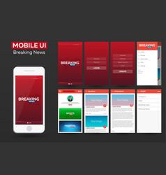 Mobile app breaking news material design ui ux vector